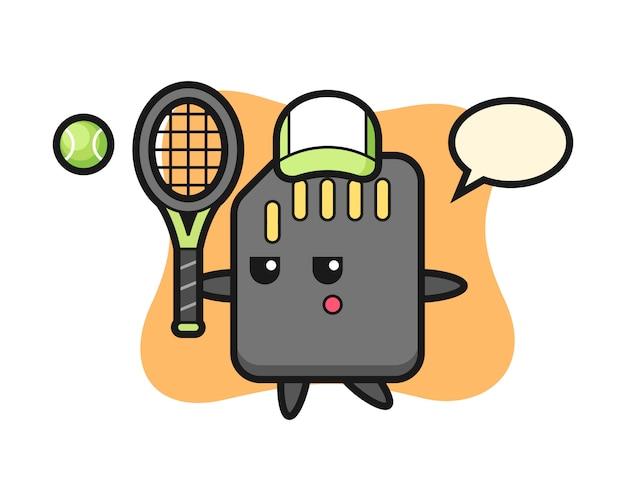 Personnage de dessin animé de carte sd en tant que joueur de tennis, conception de style mignon pour t-shirt