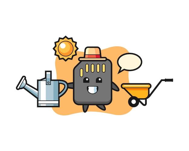 Personnage de dessin animé de carte sd tenant un arrosoir, conception de style mignon pour t-shirt