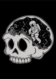 Personnage de dessin animé de cerveau astronaute crâne