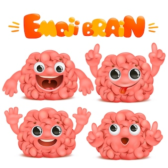 Personnage de dessin animé de cerveau emoji dans diverses émotions