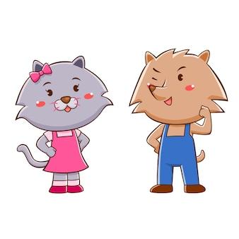 Personnage de dessin animé de chat et de chien.