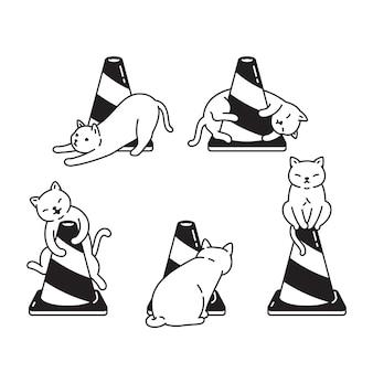 Personnage de dessin animé de chat cône de trafic de chat