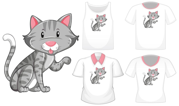 Personnage de dessin animé de chat avec ensemble de chemises différentes isolé sur fond blanc
