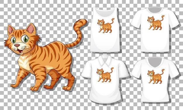 Personnage de dessin animé de chat avec ensemble de chemises différentes isolé sur fond transparent
