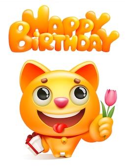 Personnage de dessin animé de chat jaune avec boîte-cadeau et fleur de tulipe. modèle de carte de voeux de joyeux anniversaire