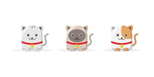 Personnage de dessin animé de chat mignon