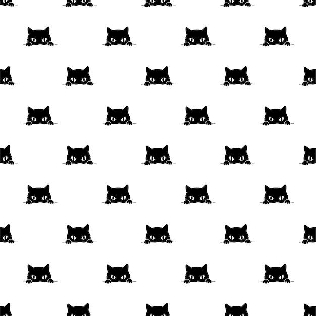 Personnage de dessin animé de chat modèle sans couture chaton