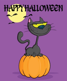 Personnage de dessin animé de chat noir halloween sur citrouille