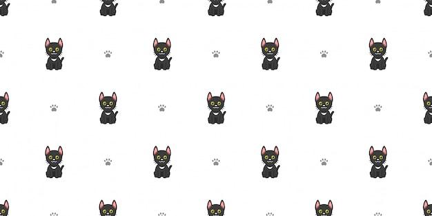 Personnage de dessin animé chat noir sans soudure de fond