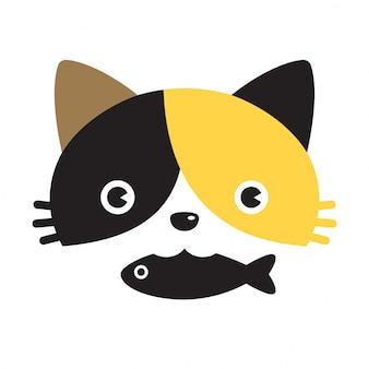 Personnage de dessin animé chat vecteur calicot poisson chaton