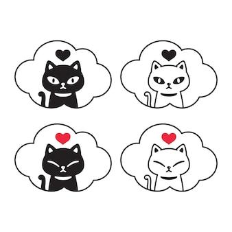 Personnage de dessin animé de chaton coeur saint-valentin
