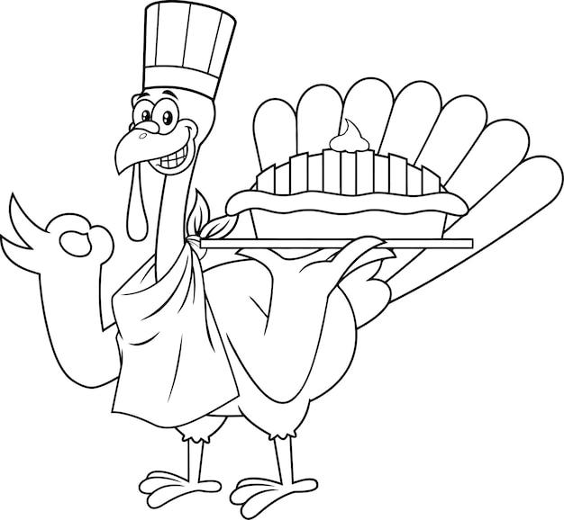 Personnage de dessin animé de chef de dinde décrit tenant une tarte parfaite. illustration isolé sur fond blanc