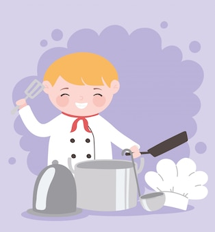 Personnage de dessin animé de chef garçon avec plateau de poêle frit et chapeau