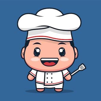 Le personnage de dessin animé de chef porte un uniforme de restaurant blanc