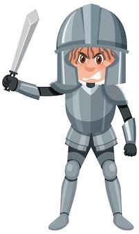 Personnage de dessin animé de chevalier sur fond blanc