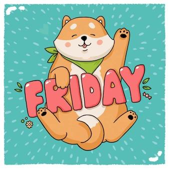 Personnage de dessin animé de chien akita inu avec lettrage vendredi