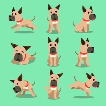 Personnage de dessin animé chien dogue allemand pose
