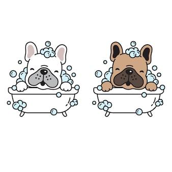 Personnage de dessin animé chien douche chiot