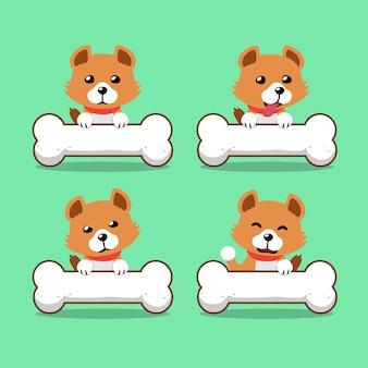 Personnage de dessin animé chien mignon avec gros os