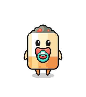 Personnage de dessin animé de cigarette bébé avec tétine, design mignon