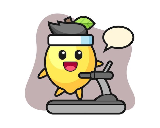 Personnage de dessin animé de citron marchant sur le tapis roulant