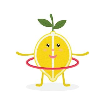 Personnage de dessin animé de citron mignon faisant des exercices avec cerceau manger sainement