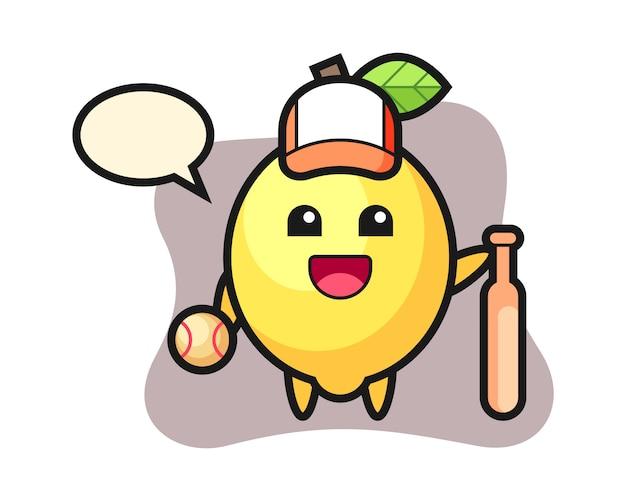 Personnage de dessin animé de citron en tant que joueur de baseball