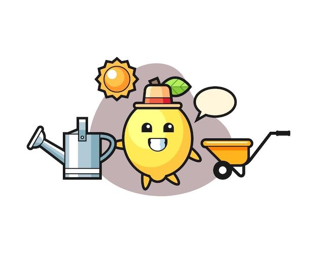 Personnage de dessin animé de citron tenant l'arrosoir