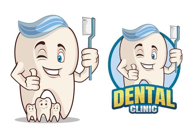Personnage de dessin animé de clinique dentaire