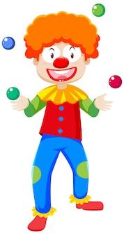 Personnage de dessin animé de clown de jonglerie isolé sur fond blanc