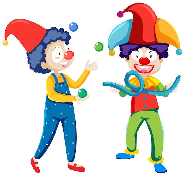 Personnage de dessin animé de clowns jonglerie isolé sur fond blanc