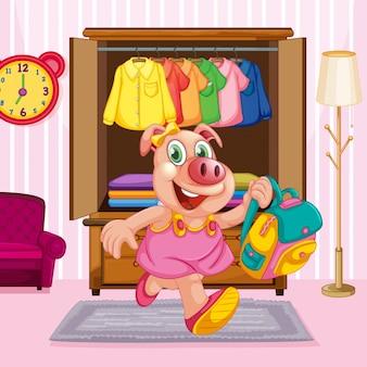 Un personnage de dessin animé de cochon dans la chambre