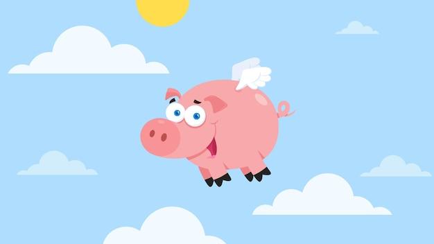 Personnage de dessin animé de cochon volant dans le ciel.