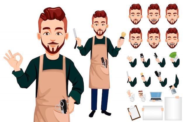 Personnage de dessin animé de coiffeur