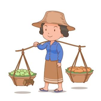 Personnage de dessin animé de colporteur femme thaïlandaise transportant des paniers de fruits.