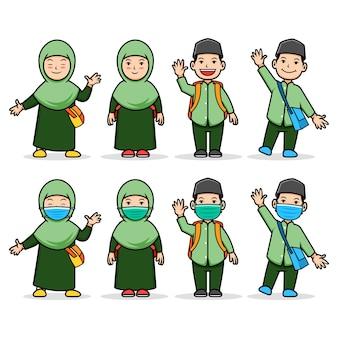 Personnage de dessin animé comique d'enfants étudiants musulmans