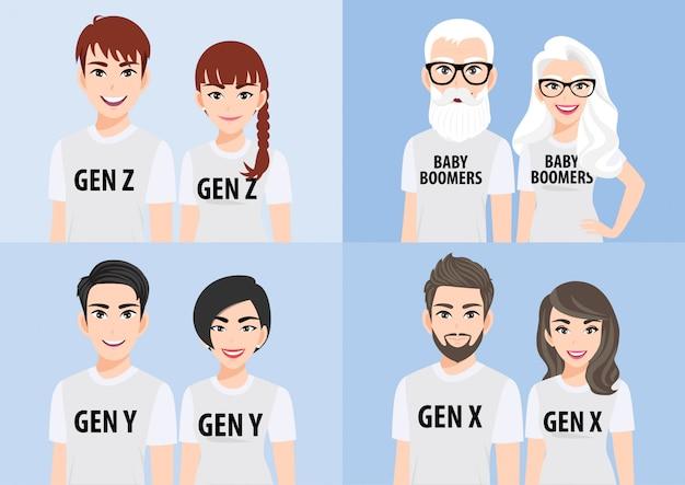 Personnage de dessin animé avec concept de générations