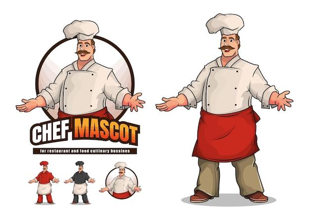 Personnage de dessin animé de conception de mascotte chef