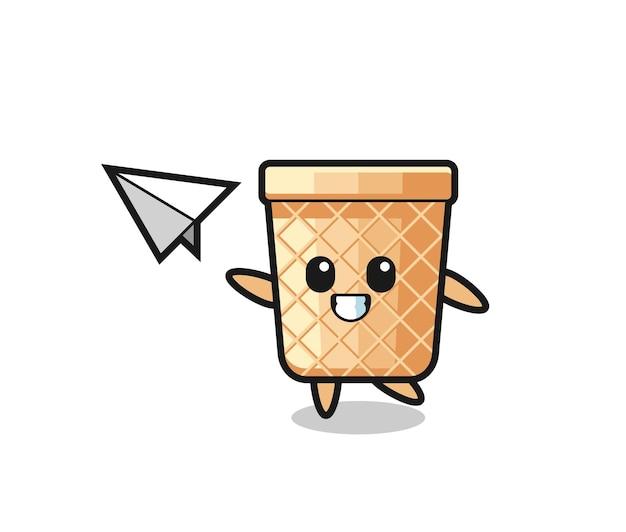 Personnage de dessin animé de cône de gaufre jetant un avion en papier, design mignon