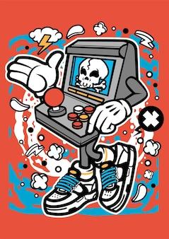 Personnage de dessin animé de console de jeux d'arcade crâne