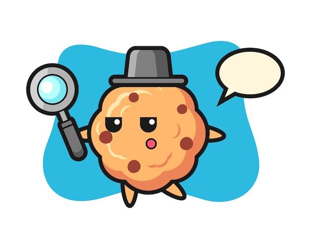 Personnage de dessin animé de cookie aux pépites de chocolat à la recherche avec une loupe