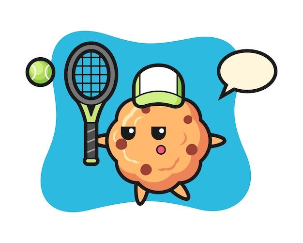Personnage de dessin animé de cookie aux pépites de chocolat en tant que joueur de tennis