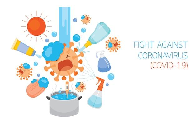 Le personnage de dessin animé de coronavirus se bat contre différentes méthodes et équipements de désinfection, protection contre la maladie de coronavirus, covid-19