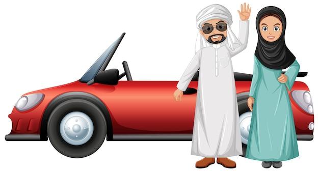 Personnage de dessin animé de couple arabe