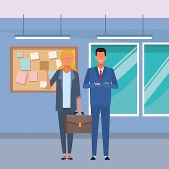 Personnage de dessin animé couple avatar au bureau