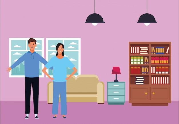 Personnage de dessin animé couple avatar