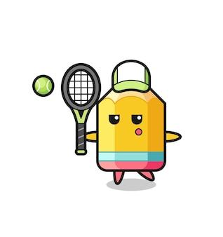 Personnage de dessin animé de crayon en tant que joueur de tennis, design de style mignon pour t-shirt, autocollant, élément de logo