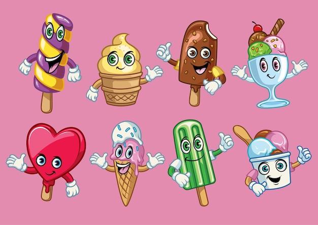 Personnage de dessin animé de crème glacée