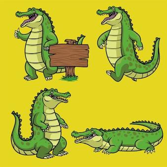 Personnage de dessin animé de crocodile dans l'ensemble