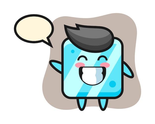 Personnage de dessin animé de cube de glace faisant le geste de la main vague
